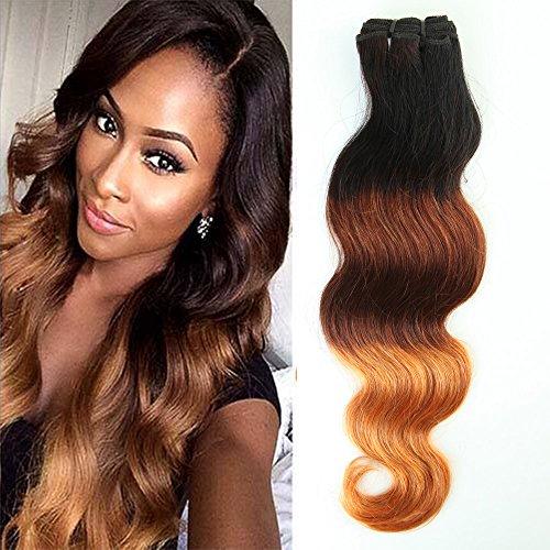 Extension capelli veri tessitura shatush 45cm capelli naturali brasiliani ondulati matassa ombre 100% remy virgin human hair 100g/ciocca, nero/biondo scuro/rosso vibrante