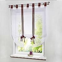 QHGstore Rod Pocket lift Schermi Roma finestra Cucina Bagno tenda del nodo Marrone 80*140cm