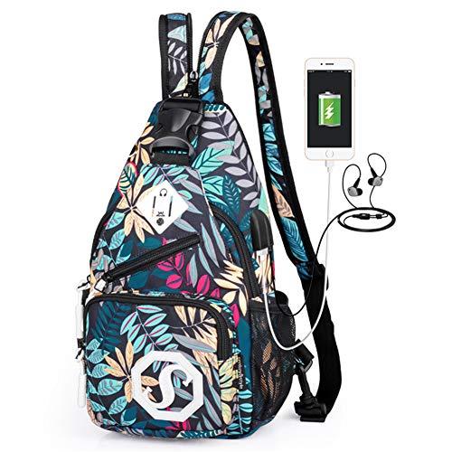 Umhängetasche Music USB Backpack Damen Casual Schulter-Schulter-Umhängetasche mit Reißverschluss Oxford Crossbody Trend Cross-Shoulder-Umhängetasche,B (Kopfhörer-jack-cross)