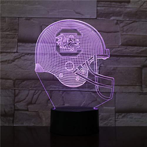 7 farbe South Carolina Gamecocks Football Helm 3D LED Nachtlicht USB Lampara Kinder Geschenk Farbwechsel Tischlampe Schlafzimmer (South Carolina Gamecock Fußball)