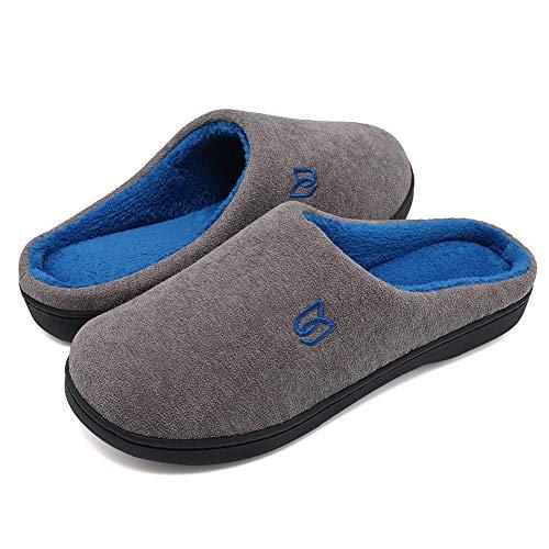 WateLves Damen Hausschuhe Winter Baumwolle Wärme Pantoffeln aus Memory-Baumwolle für Herren Unisex im Drinnen und Draussen (Grau/Blau, 46/47 EU)
