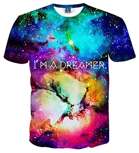 Pizoff Herren T-Shirt Sommer-Rundhalsausschnitt kurze Ärmel Galaxy Muster Sternenhimmel 3D-Spaß lässig unisex Tops Y1730-85-S (3d-bekleidung)