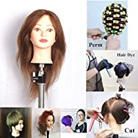 Head Dummy with Clamp 100% human hair 46 cm/18 inch hair