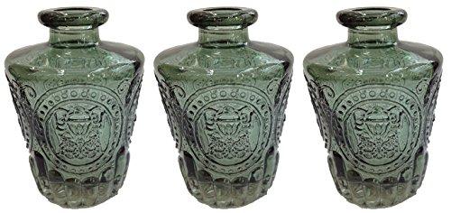 Dekoflasche Glasflasche 3 oder 6 Stück Korkenglas Korkengläser Deko Apotheke Flasche Likörflasche Apothekerglas Vintage Glas (3 Stück, antik grün) (Glas Antike Flaschen)