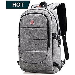mochila para portatil hombre 15.6 pulgadas mochilas antirobo impermeable casual usb laptop backpack para senderismo para trabajo diario (Gris)