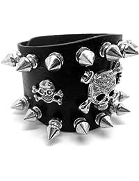 16bfc3b63a6 BOBIJOO Jewelry - Bracelet Force Cuir Noir Clouté Clou Métallique 2 rangées  Tête de Mort Rock