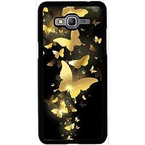 Casotec Golden Butterfly Pattern Design 2D Hard Back Case Cover for Samsung Galaxy Grand Prime G530 - Black