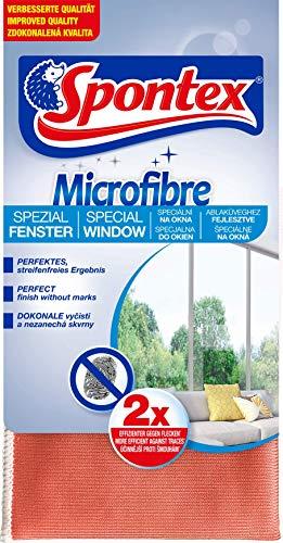Spontex Microfibre Spezial Fenstertuch - Ideal für streifenfreie Glasoberflächen, 1er Pack (1 x 1 Stück)