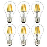 6 Stück LED Lampe E27 A60, 8W LED ersetzt 70W Glühlampe, NATIONALMASTER LED Glühbirne, LED Kerze 800 Lumen, warmweiß, 360° Abstrahlwinkel, 230V, [Energieklasse A++]