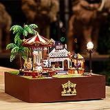 DIY Puppenhaus Kit Faway Miniatur Spielplatz Karussell Modell Spieluhr mit Licht