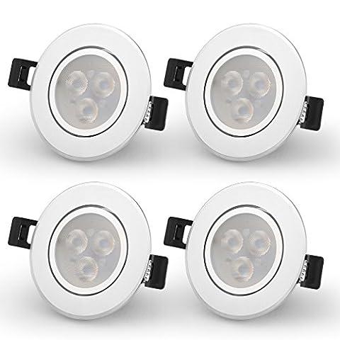 Spot LED Orientable Auralum® Lot de 4 Spots Encastrable led Plafonnier 3W Lumière Blanc Chaud (2600-2800K) Lampe Ronde pour Salon Chambre