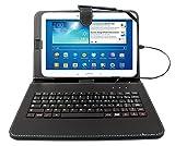 Etui aspect cuir noir + clavier intégré AZERTY (français) pour tablettes Samsung...