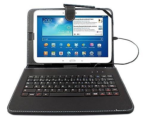 Etui aspect cuir noir + clavier intégré AZERTY (français) pour tablettes Samsung Galaxy Tab 3 P5200/P5210/ P5220, Note Edition 2014 (SM-P600) et Tab Pro 10,1