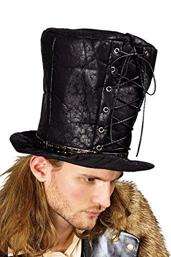 K10157706 Hoher Zylinder schwarz mit Schnürung Steampunk Hut