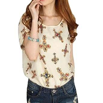 Hee Grand Women Print Short Sleeve Chiffon Top T-Shirt Chinese M Cross White