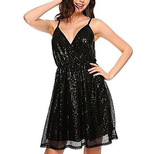 Femme Sexy Sans Manche Encolure Profonde Col V Briller Sequin Pailletée Swing Moulante Courte Dress Robe pour Soirée Banquet Fête Party Noir