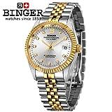 Binger Automatic Mechanical Sapphire Waterproof Men's Wristwatch - BG-0373-03 - Silver