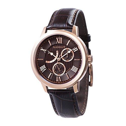 Thomas Earnshaw Cornwell ES-8060-04 Montre à quartz à affichage rétrograde et trotteuse centrale pour homme Avec cadran marron, affichage analogique classique et bracelet en cuir marron