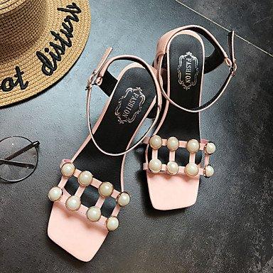 LvYuan Da donna Sandali Comoda PU (Poliuretano) Estate Casual Formale Footing Comoda Perle Fibbia Quadrato Bianco Nero Rosa Chiaro 5 - 7 cm light pink