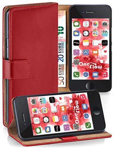 MoEx® Booklet mit Flip Funktion [360 Grad Voll-Schutz] für iPhone 6S / iPhone 6 | Geldfach und Kartenfach + Stand-Funktion und Magnet-Verschluss, Rot