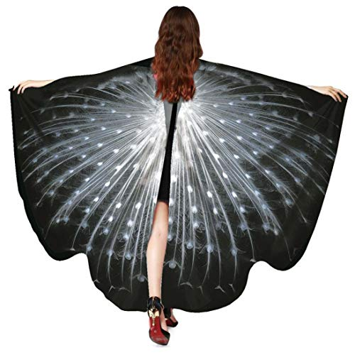 KOKOUK Women Soft Fabric Peacock/bat/Butterfly Wings Shawl Fairy Ladies Nymph Pixie Costume Accessory for Girls Shawl St.Patricks Day Party Cosplay Costume (Black 5342) (Black Rose Fairy Kostüm)