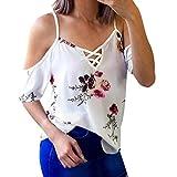 ESAILQ Damen Frauen Casual Kurzarm Stretch Falten Tunika Bluse Sommer Obteile mit Knöpfen V-Ausschnitt Ladies Shirt mit Gummizug Am Saum(S,Weiß)