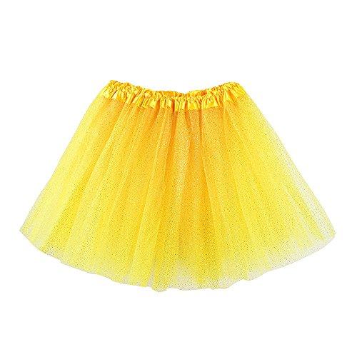Hirolan Tüllrock Ballettrock Tutu Petticoat Vintage Partykleid Unterkleid Damen Falten Gaze Kurzer Rock Erwachsene Tutu Tanzender Rock Ballklei Abendkleid Zubehör (Einheitsgröße, Gelb 3)