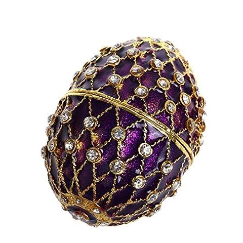 Hyalinität & Dora Fabergé-Ei Scharnier Jewelry Ring Halter Schmuckschachtel in Collectible Figur Boxen W/Kristalle violett