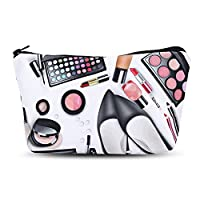 EbuyChX 3D Cosmetics Print Clutch Makeup Bag Black