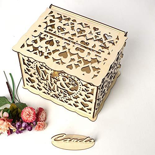 Eqwong scatola di carte di nozze in legno, salvadanaio con chiave, anelli di gomma per matrimonio, doccia nuziale, decorazioni per feste di anniversario di matrimonio