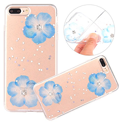 Cover iPhone 7 / 8 Plus - Custodia in Glitter Silicone TPU - Surakey Belle iPhone 7 Plus Custodia Brillantini Fiore Bling Diamante Trasparente Slim Ultra Sottile Gomma Morbida Gel Case Antigraffio Ant Blu