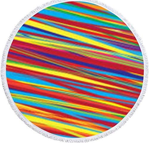 Shengbuzailai Arbeiten Sie buntes gestreiftes 150Cm * 150Cm großes rundes Badetuch mit der absorbierenden Mikrofaser der Quaste um, die enormes Badetuch Dsf337549 schwimmt - Hd-floor-maschine