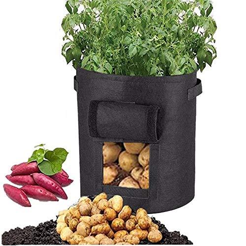 hotsilai grow borse【2 pack ,26 litri】,di piantapatate con patta per coltivare ortaggi con patta per patate, carote & pomodori,con manici a tracollae con morbida consistenza simile al feltro -nero