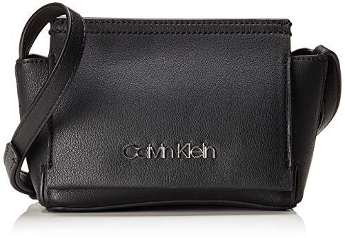Calvin Klein Damen Stitch Flap Crossbody Umhängetasche, Schwarz (Black), 8x29x14.5 cm