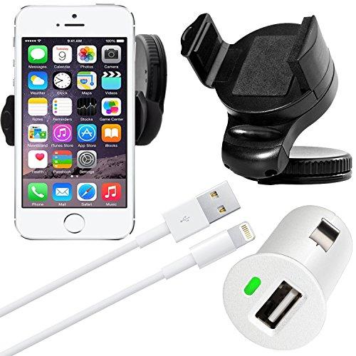 Original Lanboo® Halterung + Ladekabel / Datenkabel + KFZ Adapter für Apple iPhone 5 / 5s / SE / 5c - Windschutzscheibe Handyhalterung Holder Halter Carkit / Charger Adapter Ladegerät / Sync Kabel