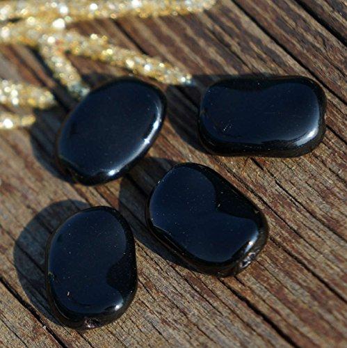Rettangolo Piatto Onda di Grandi Perle Nere ceca Perle in Vetro di Boemia Perle Piatto Nero a Perline di Vetro Nero ceca Perle 12mm x 8mm 10pz