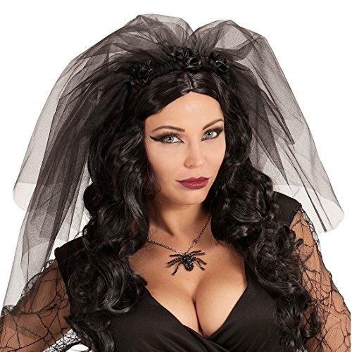 NET TOYS Schwarzer Schleier Braut Gothic Brautschleier mit Rosen Halloween Hochzeitsschleier mit Spitze Haarreif Schwarze Witwe