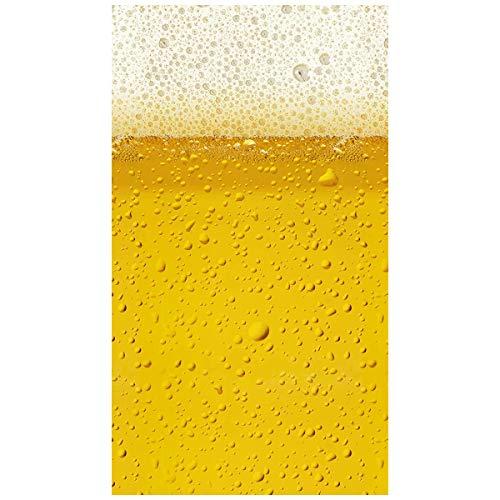 Aminata Kids - Strandtuch Bier-Motiv 100x180 cm gelb Mikrofaser Junge-n Männer