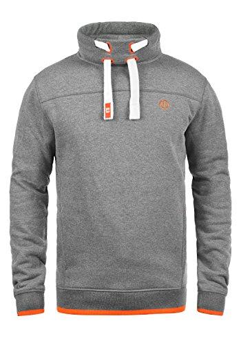 !Solid Benjamin Herren Sweatshirt Pullover Pulli Mit Stehkragen Und Fleece-Innenseite, Größe:M, Farbe:Grey Melange (8236) -