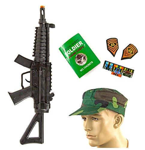 Spielzeug Bundeswehr- Militär Spielzeug-Waffe Hut Cap Maschingewehr Spielzeug-Waffe Soldaten-Kostüm Zubehör (Kinder Militär Kostüme)