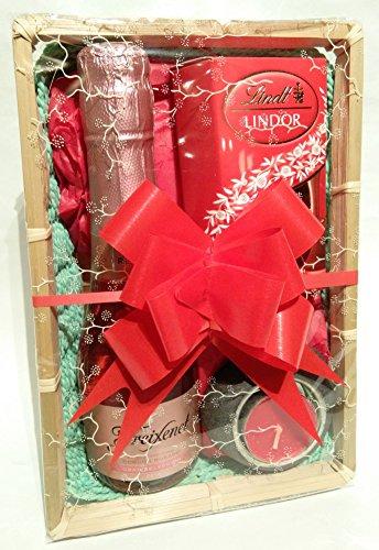 Luxury Freixenet Sparkling Rose Cava Wine With Lindt Lindor Chocolates & Slate Tealight + Holder Gift Basket Hamper