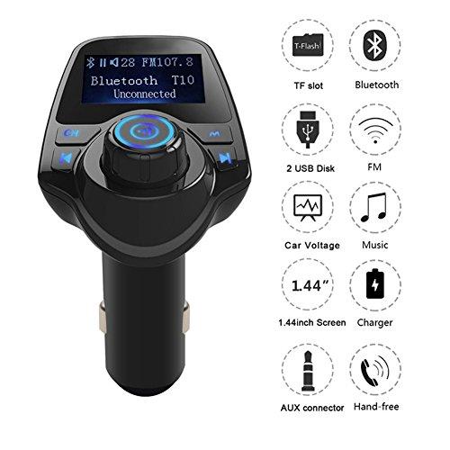 FM-Transmitter mit Display Bluetooth für Freisprech-Funkempf?nger-Radio-Adapter Car Kit mit 5V 2.1A USB-Auto-Ladeger?t MP3-Player-Unterstützungs-TF-Karte USB-Flash-Laufwerk