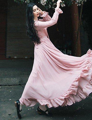 PU&PU Robe Aux femmes Swing Vintage / Décontracté / Plage / Mignon , Couleur Pleine Noeud Maxi Lin PINK-S