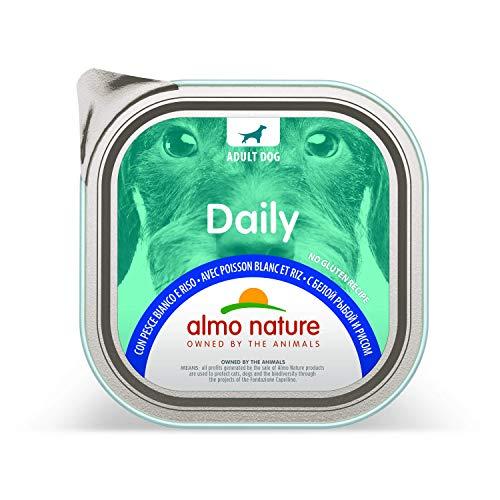 almo nature Daily Menu paté Cane Bianco con Pesce e Riso, 300g, Confezione da 9