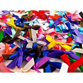 250 Satin Ribbon Bows, Assorted Colours, 7mm Wide, Double Sided Satin