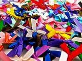 100 fiocchetti satinati double-face, colori assortiti, larghezza: 7 mm.