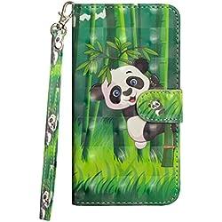 Sunrive Coque pour Wiko Sunny 3, Housse Mignon Étui avec Fonction de Support Etui Protecteur Protection Portefeuille Cas Magnétique PU Cuir(Panda 2)+ Stylet OFFERTS