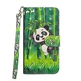 BONROY Hülle, Lenovo K6 SchutzHülle, Lederhülle PU Leder Tasche Cover Wallet Case für Lenovo K6 Smartphone-(3D gemalt-Panda)