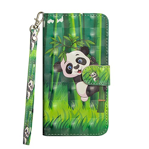 LG K8K102018Q6Fall, babemall Creative 3D Bling Malerei PU Leder Wallet Ständer Kreditkarte Halterung Flip Cover & Handschlaufe, for LG Tribute Dynasty/Zone 4/K8 2018, Panda