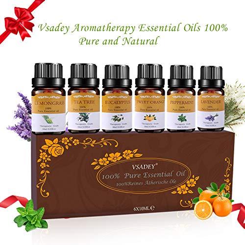 Vsadey Ätherische Öle Set Bio Natürliche Aromatherapie Duftöl 100% Pur 6*10 ml Spa Organische Essential Oils für Diffuser(Orange, Lavendel, Teebaum, Zitrone, Eukalyptus und Pfefferminze) Neue Formel